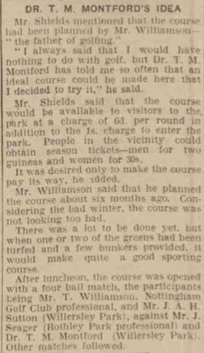 Castle Donington Golf Club, Donington Park. Report Derby Daily Telegraph June 1935.