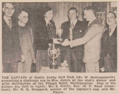 Castle Ashby Golf Club, Northamptonshire. Prize presentation in January 1937.