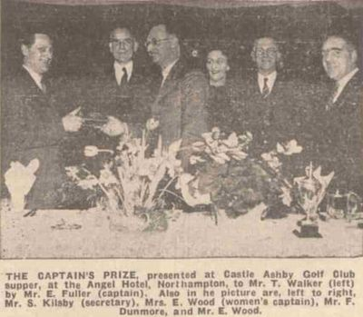 Castle Ashby Golf Club, Northamptonshire. Presentation of the Captain's Prize in February 1940.