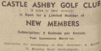 Castle Ashby Golf Club, Northamptonshire. Advert for new members in February 1952.