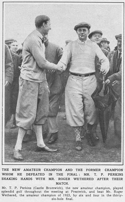 Castle Bromwich Golf Club, Birmingham. T P Perkins wins the Amateur Championship in 1928.