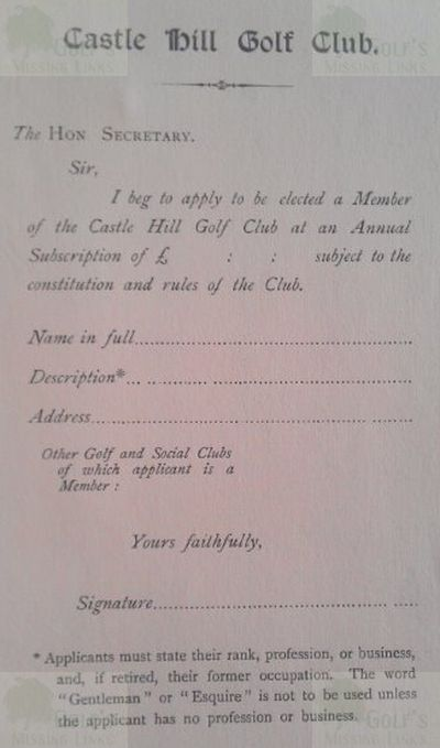 Castle Hill Golf Club, Ealing. Application Form.