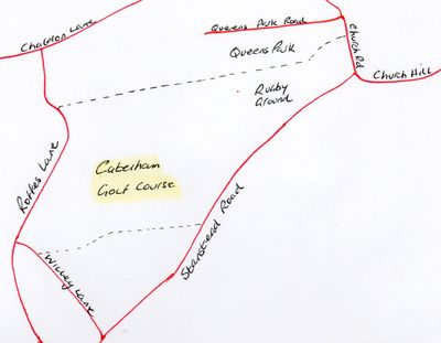 Location of the later Caterham Golf Club course.