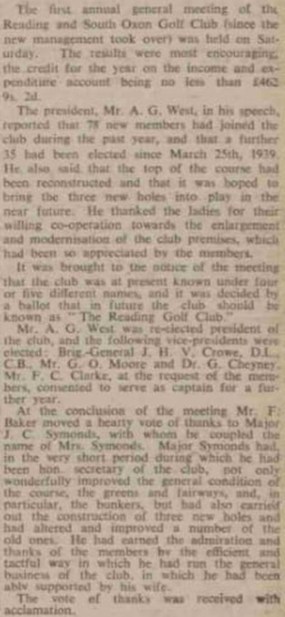 Caversham/Reading & South Oxon Golf Club, Berks. Change of name to Reading Golf Club in May 1939.
