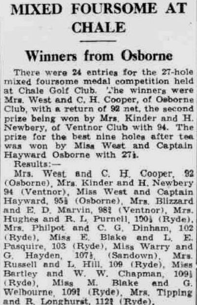Chale Golf Club, Isle of Wight. Competition result from May 1939..