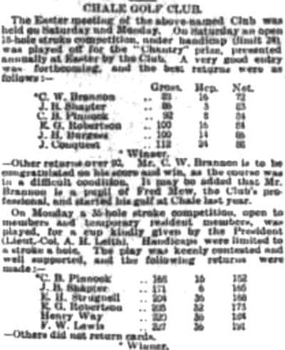 Chale Golf Club, Isle of Wight. Results from the Easter Meeting in April 1911.