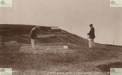 Chale Golf Club, Isle of Wight. Picture of the holme hole and clubhouse.