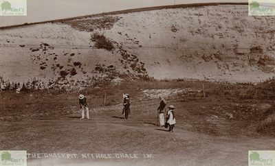 Chale Golf Club, Isle of Wight. Picture of the first hole - Chalk Pit.