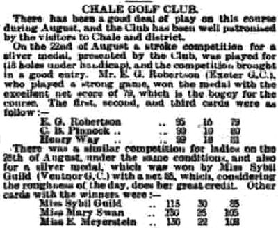 Chale Golf Club, Isle of Wight. Competition result from August 1908.