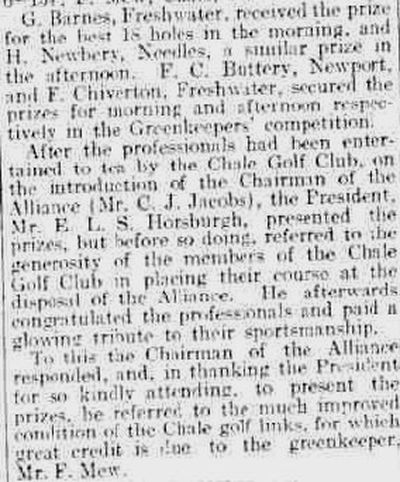 Chale Golf Club, Isle of Wight. Competition results from May 1924.