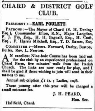 Chard & District Golf Club, Somerset. Announcement of the new club and course December 1903.