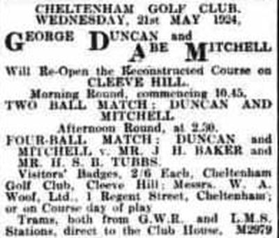 Cheltenham Golf Club, Cleeve Hill, Gloucestershire. Professional match on the reconstructed course in April 1924.