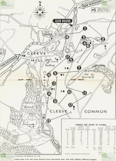 Cotswold Hills Golf Club, Cleeve Hill, Gloucestershire. The course layout on Cleeve Hill in the early 1950s.
