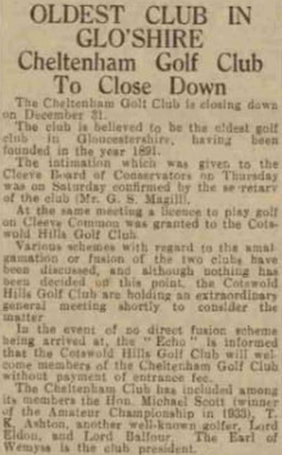 Cheltenham Golf Club, Cleeve Hill, Gloucestershire. The sad end to a once proud golf club in December 1935.