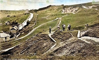 Cheltenham Golf Club, Cleeve Hill Golf Course. The course on a 1913 postcard.