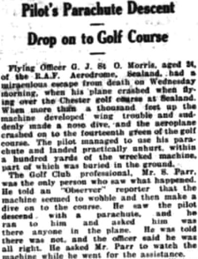 Chester Golf Club, Sealand. Report on a plane crash on the sealand golf course in July 1931.