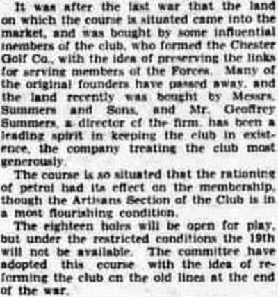 Chester Golf Club, Sealand. The club decide to continue in December 1940.