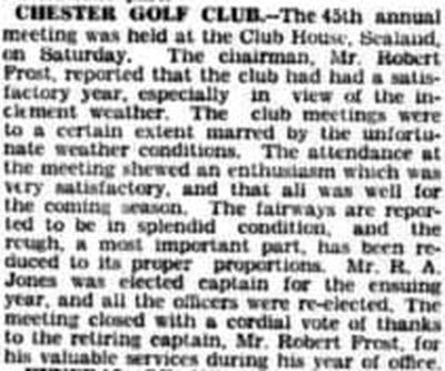 Chester Golf Club, Sealand. Report on the annual meeting in March in 1936.