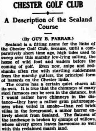 Chester Golf Club, Sealand. Description of the Sealand course September 1936.