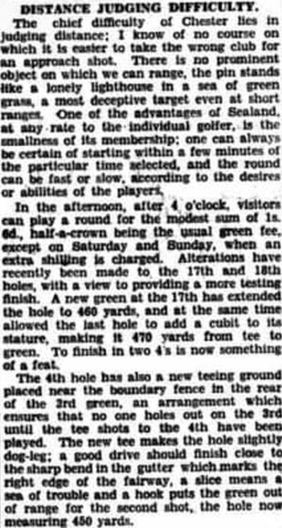 Chester Golf Club, Sealand. Description of the Sealand course in September 1936.