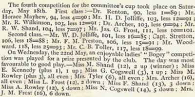 Chester Golf Club, Sealand. Competition result from May 1895.