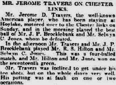 Chester Golf Club, Sealand. Visit of Jerome Travers in March 1914.