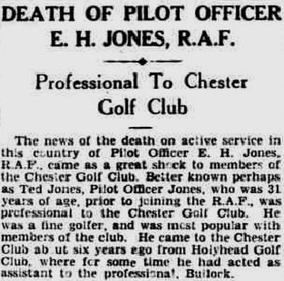 Chester Golf Club, Sealand. Sad report from the Cheshire Observer in December 1942.