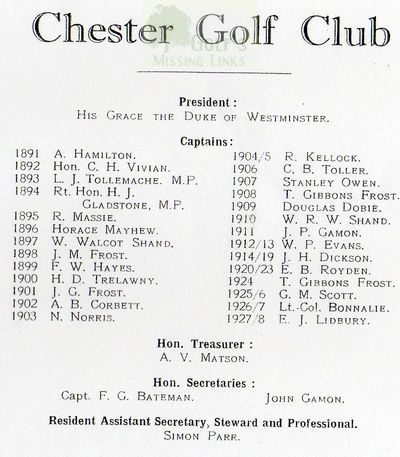 Chester Golf Club. Club officers 1891-1928.
