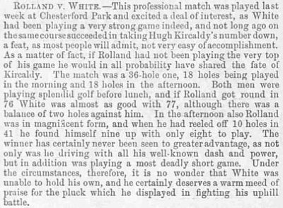 Chesterford Park Golf Club, Little Chesterford. Match between Jack White and Douglas Rolland played in May 1894.