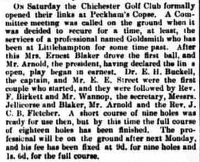 Chichester Golf Club. The opening of the Peckham's Copse golf course September 1892.