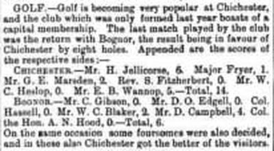 Bognor Regis Golf Club, Sussex. Report on a match against Chichester in March 1893.