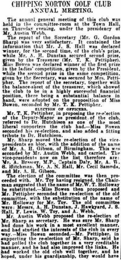 Chipping Norton Golf Club, Oxfordshire. Report on the annual meeting in April 1902.