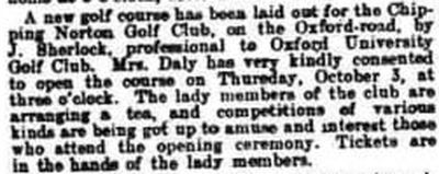 Chipping Norton Golf Club, Oxfordshire. Report on the new course in September 1907.