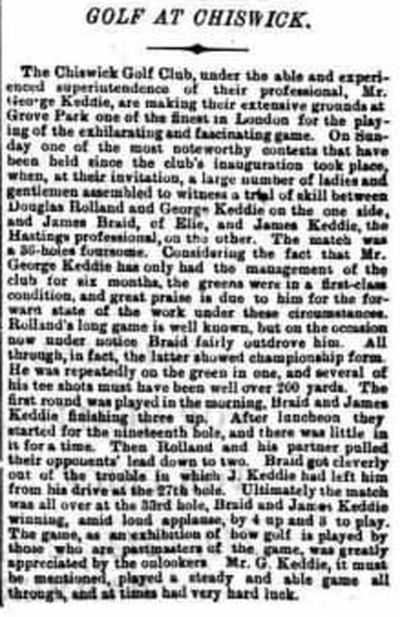 Chiswick Golf Club, London. Newspaper report from November 1894.