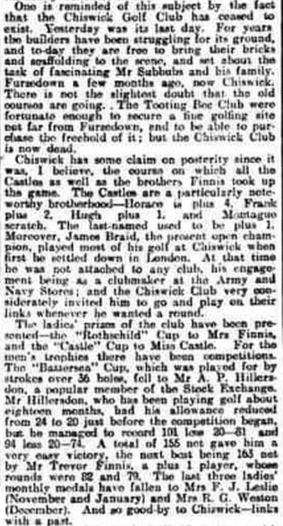 Chiswick Golf Club, London. Newspaper report on the final day in 1907.