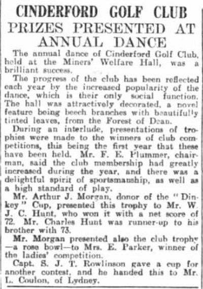 Cinderford Golf Club, Gloucestershire. The annual dance and presentation November 1932.