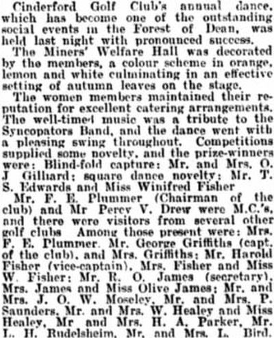 Cinderford Golf Club, Gloucestershire. The annual dance and presentation November 1933.