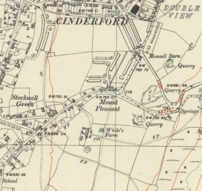 Cinderford Golf Club, Gloucestershire. The 1953 O.S map showing St. White's farmhouse the Cinderford clubhouse.