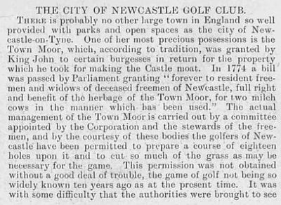 City of Newcastle Golf Club, Town Moor Course. Article from Illustrated Sporting Dramatic News October 1903.