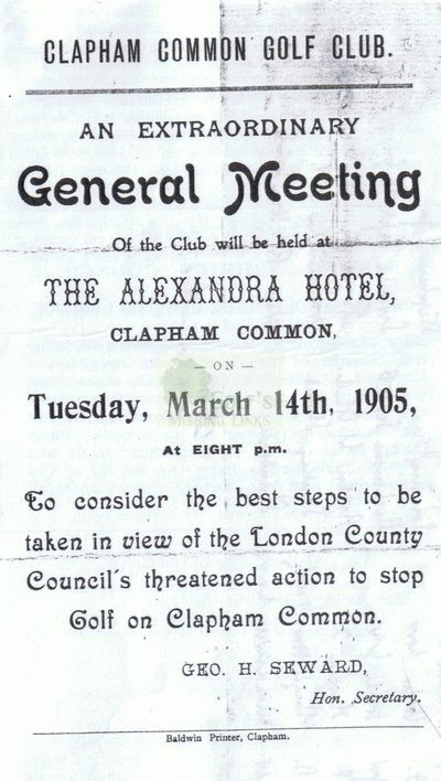 Clapham Common Golf Club, London. Notice of the EGM in 1905.