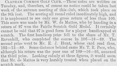 Clapham Common Golf Club, Greater London. Competition results from November 1893.