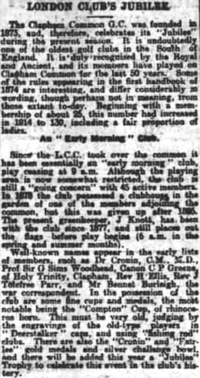Clapham Common Golf Club, Greater London. Report on the Jubilee Year in 1923.