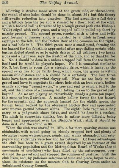 Clapham Common Golf Club, Greater London. Entry from the 1888/89 Golfing Annual.