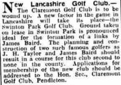 Claremont Golf Club, Manchester. Notice of the closure of the club March 1925.