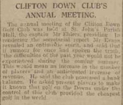 Clifton Downs Golf Club, Bristol. Report on the annual meeting January 1932.