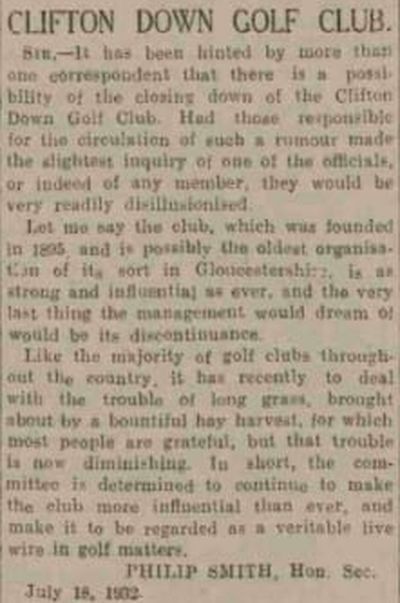 Clifton Downs Golf Club, Bristol. Letter from the secretary July 1932.
