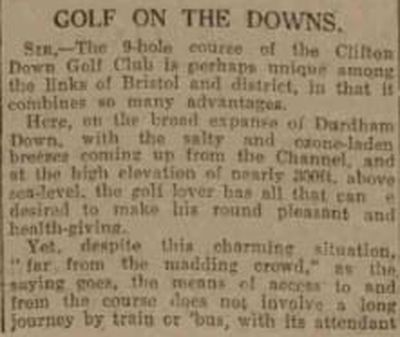 Clifton Downs Golf Club, Bristol. Newspaper report from September 1925.