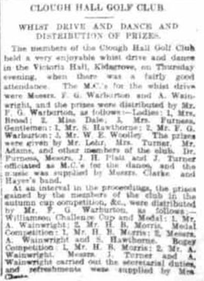 Clough Hall Golf Club, Kidsgrove. Newspaper article from March 1912.