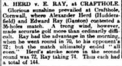 Crafthole Golf Club, Cornwall. A Herd and E Ray playing at Crafthole in July 1910.