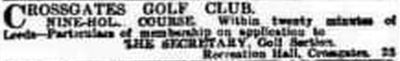 Cross Gates Golf Club, Leeds. Early advert for the golf club in January 1913.